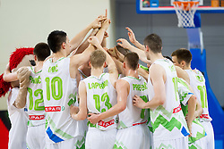Players of Slovenia celebrate after the basketball match between National teams of Slovenia and Lithuania in First Round of U20 Men European Championship Slovenia 2012, on July 14, 2012 in Domzale, Slovenia. Slovenia defeated Lithuania 87-81. (Photo by Vid Ponikvar / Sportida.com)