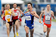 Air Force's Ryan Corona starts to celebrate as his team gets the win in the men's distance medley relay Saturday, April 30, 2016, during the final day of Drake Relays in Des Moines.