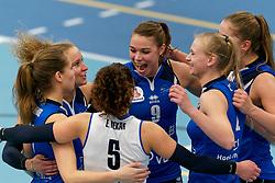 26-10-2019 NED: Talentteam Papendal - Sliedrecht Sport, Ede<br /> Round 4 of Eredivisie volleyball - Ana Rekar #11 of Sliedrecht Sport, Lisanne Baak #9 of Sliedrecht Sport, Christie Wolt #1 of Sliedrecht Sport