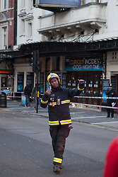 Images taken this morning Friday, 20th December 2013 of outside the Apollo Theatre where a Balcony Collapsed on Thursday 19th December,  the Apollo Theatre in the West End, London, United Kingdom. Friday, 20th December 2013. Picture by Daniel Leal-Olivas / i-Images<br />