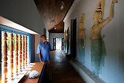 Architect C. Anjalendran at Ridi Viharaya. The temple has a series of caves and is home to some of the finest examples of Buddhist temple painting and sculpture.