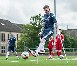 Stuart Mitchell of the Scotland squad of the Amputee Football Association Scotland gets some last minute training in before travelling to the Netherlands for their first tri-nations championship with the host country and Germany.<br /> <br /> © Dave Johnston/ EEm