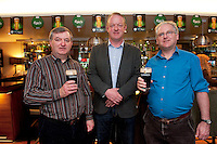Pictured at the Huntsman, Co. Galway is Greg Quain and Michael Quain both living in Renmore with and former Irish Rugby International Mick Galwey(centre) attending the GUINNESS Mid-Strength Taste Test Tour. Guinness Master Brewer Fergal Murray along with Mick Galway hosted the event, which featured a special Q&A on rugby and a Pour Your Pint Competition. .Full details are available on www.Facebook.com/Guinnessireland GUINNESS Mid-Strength has the unmistakable distinctive taste and is brewed in exactly the same way as GUINNESS, just with less alcohol at 2.8%...The GUINNESS word and associated logos are trademarks...Enjoy Guinness Sensibly...Visit www.drinkaware.ie..Photo:Andrew Downes.