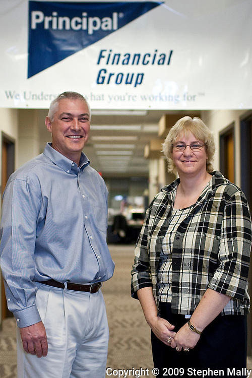 Mike Daugherty and Lois Ohlendorf (from left) at Principal Financial in Cedar Falls, Iowa on Thursday October 29, 2009
