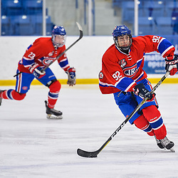 OAKVILLE, ON  - FEB 23,  2018: Ontario Junior Hockey League game between the Oakville Blades and the Toronto Jr. Canadiens, Eric Ciccolini #92 of the Toronto Jr. Canadiens skates with the puck during the second period.<br /> (Photo by Ryan McCullough / OJHL Images)