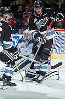 KELOWNA, CANADA - DECEMBER 2: Wyatt Hoflin #30 of Kootenay Ice defends the net against Tomas Soustal #15 of Kelowna Rockets on December 2, 2015 at Prospera Place in Kelowna, British Columbia, Canada.  (Photo by Marissa Baecker/Shoot the Breeze)  *** Local Caption *** Wyatt Hoflin; Tomas Soustal;