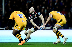 Matt Kvesic of Exeter Chiefs is marked by Ashley Johnson of Wasps and Tim Cardall of Wasps - Mandatory by-line: Ryan Hiscott/JMP - 30/11/2019 - RUGBY - Sandy Park - Exeter, England - Exeter Chiefs v Wasps - Gallagher Premiership Rugby