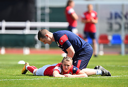 Chris Underwood physio for Bristol City Women calling into action during warm-up - Mandatory by-line: Paul Knight/JMP - 20/05/2018 - FOOTBALL - Stoke Gifford Stadium - Bristol, England - Bristol City Women v Arsenal Ladies - FA Women's Super League 1