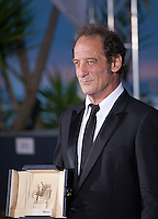 Vincent Lindon winner of Best performance by an actor in La Loi du Marché,The Measure of a Man, at the Palm D'Or award winners photo call at the 68th Cannes Film Festival Sunday May 24th 2015, Cannes, France.