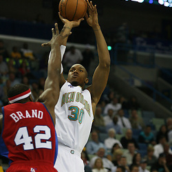 15 April 2008: New Orleans Hornets forward David West #30 shoots over Los Angeles Clippers Elton Brand #42 in the first quarter of the Hornets 114-92 win over the Clippers at the New Orleans Arena in New Orleans, Louisiana.