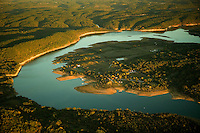 Aerials of Beaver Lake in Northwest Arkansas with low water levels from a recent drought showing the shoreline and people enjoying the lake