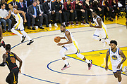 Golden State Warriors forward Kevin Durant (35) pushes the ball down the court against the Cleveland Cavaliers during Game 1 of the NBA Finals at Oracle Arena in Oakland, Calif., on May 31, 2018. (Stan Olszewski/Special to S.F. Examiner)