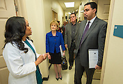 Teresa Harris, left, talks with Acting US Deputy Secretary of Health and Human Services Mary Wakefield, Houston ISD Superintendent Dr. Terry Grier and Acting US Secretary of Education John King, right, in the Memorial Hermann clinic at Sharpstown High School, January 15, 2016.