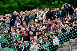 Spectators at football match between NK Primorje Ajdovscina and NK Triglav Gorenjska of Second Slovenian football league, on May 16, 2010 in Vipava, Slovenia. Primorje placed first in 2.SNL and qualified for  PrvaLiga in season 2010/2011. (Photo by Urban Urbanc / Sportida)