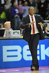 25.02.2014, Audi Dome, Muenchen, GER, Beko Basketball BL, FC Bayern Muenchen Basketball vs Artland Dragons, 22. Runde, im Bild Tyron McCoy, Head Coach (Artland Dragons), Einzelbild, zufrieden // during the Beko Basketball Bundes league 22. round match between FC Bayern Munich Basketball and Artland Dragons at the Audi Dome in Muenchen, Germany on 2014/02/25. EXPA Pictures © 2014, PhotoCredit: EXPA/ Eibner-Pressefoto/ Buthmann<br /> <br /> *****ATTENTION - OUT of GER*****