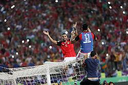 ALEXANDRIA, Oct. 9, 2017  Egyptian players celebrate after winning the 2018 FIFA World Cup qualification match between Egypt and Congo at the Borg El-Arab Stadium in Alexandria, Egypt, Oct. 8, 2017. Egypt won 2-1 and qualified to the World Cup finals. (Credit Image: © Paul Underhill/Xinhua via ZUMA Wire)