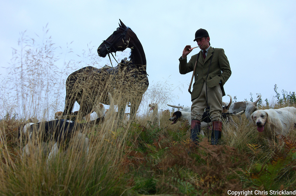 Huntsman Johnny Richardson of the Jedforest Hunt blows for hounds.