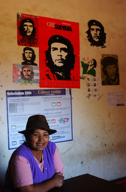 """The image of Che Guevara stands for many things throughout Latin America, from a young traveler to an anti-U.S., anti-imperialist revolutionary.  Margarita Daza, stands in her shop in La Higuera, the town where Guevara was captured and killed.  Daza says she has likenesses of Che in her shop """"because it is a historic spot and the tourists like it""""."""