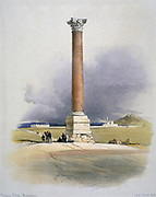 Pompey's Pillar, Alexandria' Watercolour. David Roberts (1796-1864) Scottish artist and orientalist. Red granite column  erected to Diocletian, 4th century. Once thought to mark burial place of  Pompey the Great.