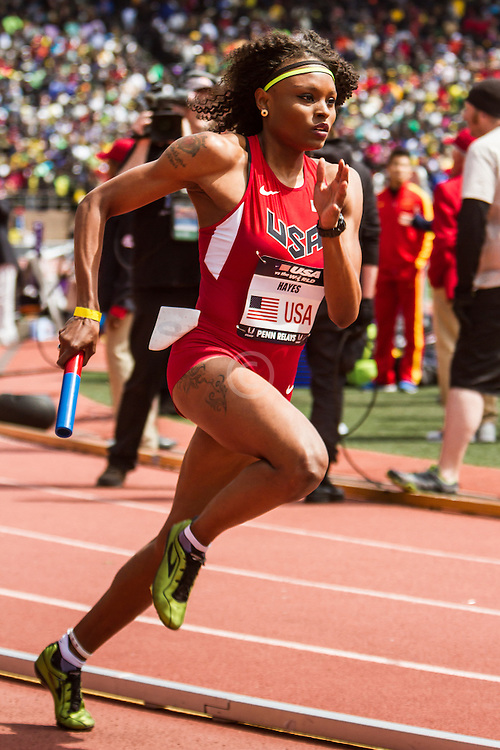 Penn Relays, USA vs the World, womens 4 x 400 meter relay, Jernail Hayes, USA