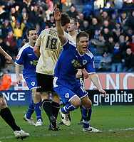 Photo: Steve Bond/Richard Lane Photography. Leicester City v Huddersfield Town. Coca Cola League One. 24/01/2009. Michael Morrison see his balll hit the back of the net