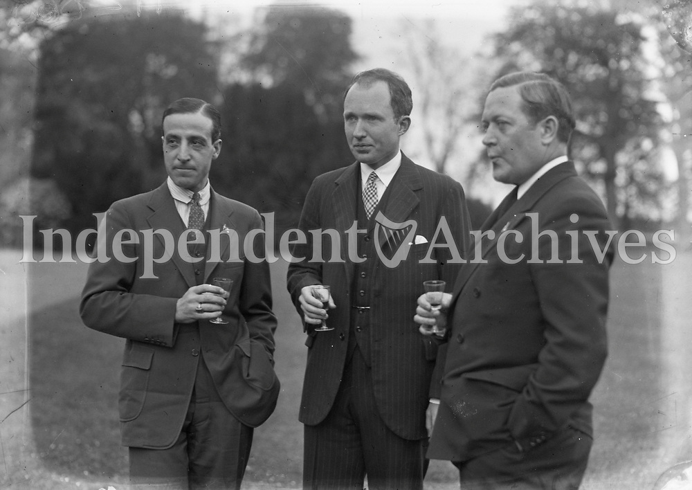 Transatlantic Fliers in Dublin. 1934, L-R: Cesare Sabelli, and George R. Pond. Pond and Sabelli's plane was called, 'Leonardo Da Vinci', Serial Number NR13137. <br /> (Part of the Independent Newspapers Ireland/NLI Collection)