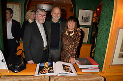 Chris Moore, Sam McKnight and Hilary Alexander attends CATWALKING, PHOTOGRAPHS BY CHRIS MOORE party hosted by The British Fashion Council & Laurence King Publishing at Annabel's, Mayfair, London England. 6 November 2017.