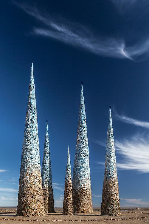 Subterrafuge spires at AfrikaBurn 2014, Tankwa Karoo desert, South Africa. The art installation is a comment against fracking in the Karoo desert.