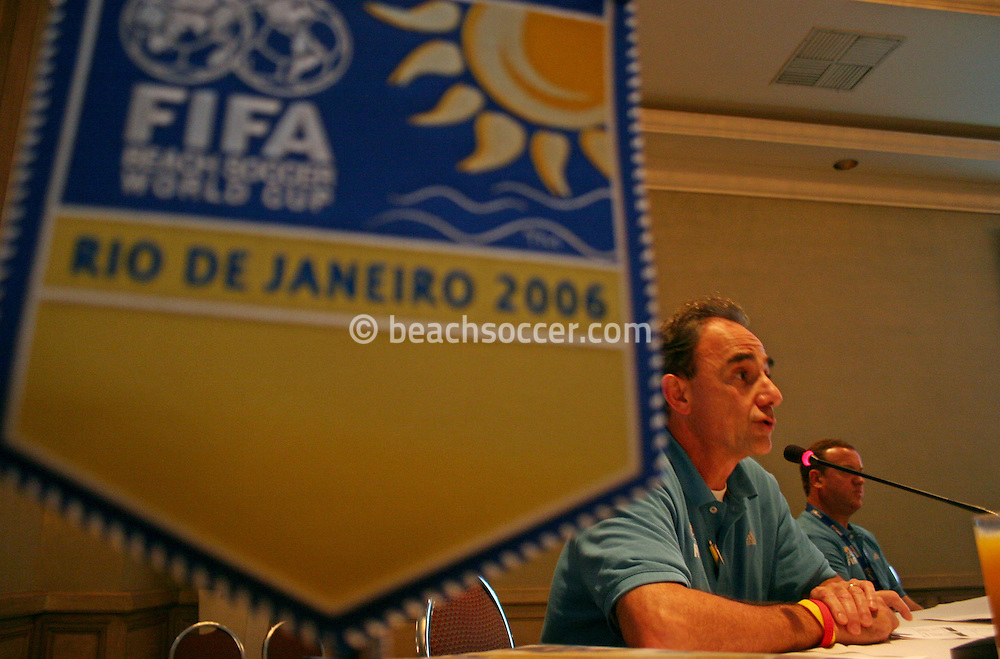 Football - FIFA Beach Soccer World Cup 2006 - Team Coordination Meeting for Group Stage - Rio de Janeiro - Brazil 01/11/2006 - Inak Alvaro speaks during the meeting -<br />