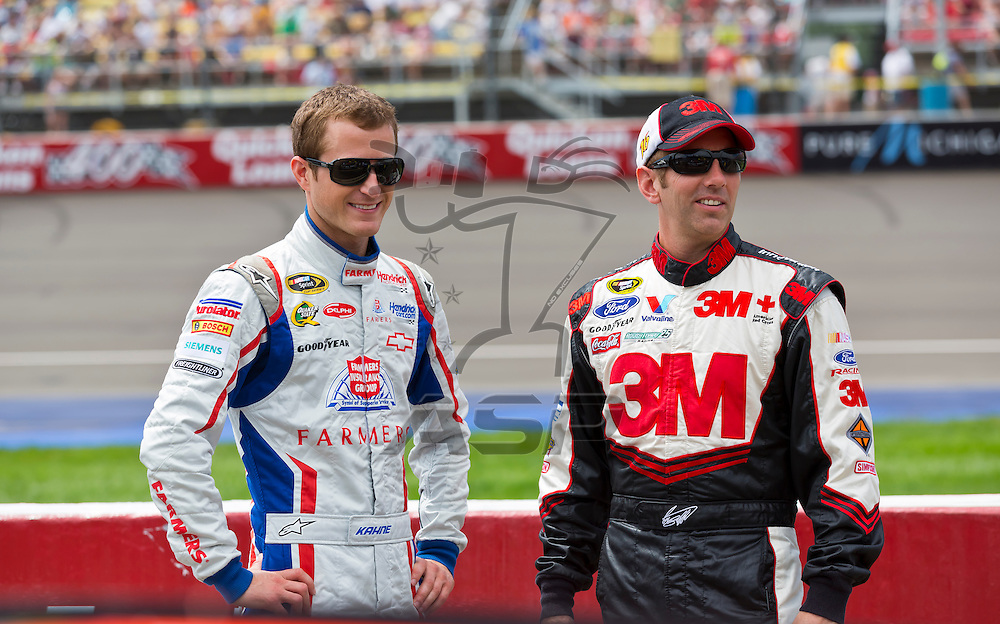 BROOKLYN, MI - JUN 17, 2012:  Kasey Kahne (5) and Greg Biffle (16) prepare to race in the Quicken Loans 400 at the Michigan International Speedway in Brooklyn, MI.