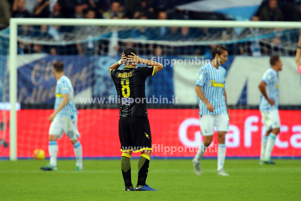 "Foto Filippo Rubin<br /> 28/10/2018 Ferrara (Italia)<br /> Sport Calcio<br /> Spal - Frosinone - Campionato di calcio Serie A 2018/2019 - Stadio ""Paolo Mazza""<br /> Nella foto: GOAL FROSINONE ANNULLATO DI RAMAN CHIBSAH (FROSINONE)<br /> <br /> Photo Filippo Rubin<br /> October 28, 2018 Ferrara (Italy)<br /> Sport Soccer<br /> Spal vs Frosinone - Italian Football Championship League A 2018/2019 - ""Paolo Mazza"" Stadium <br /> In the pic: ILLEGAL GOAL FROSINONE RAMAN CHIBSAH (FROSINONE)"