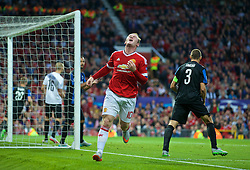MANCHESTER, ENGLAND - Tuesday, August 18, 2015: Manchester United's captain Wayne Rooney looks dejected after missing a chance Club Brugge during the UEFA Champions League Play-Off Round 1st Leg match at Old Trafford. (Pic by David Rawcliffe/Propaganda)