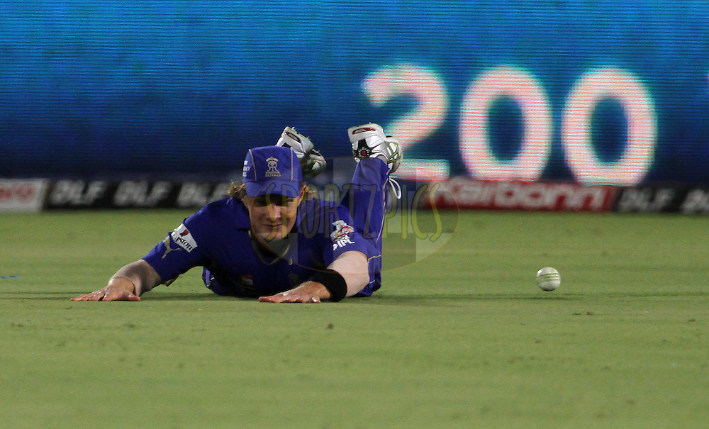 Rajasthan Royals player Shane Watson drops a catch during match 72 of the Indian Premier League ( IPL) 2012  between The Rajasthan Royals and the Mumbai Indians  held at the Sawai Mansingh Stadium in Jaipur on the 20th May2012..Photo by Vipin Pawar/IPL/SPORTZPICS