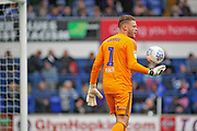 Ipswich Town goalkeeper Dean Gerken (1) gets ready to clear the ball during the EFL Sky Bet Championship match between Ipswich Town and Bolton Wanderers at Portman Road, Ipswich, England on 22 September 2018.
