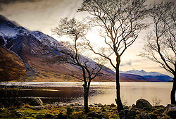 Weak winter sunshine on Loch Etive at the end of Glen Etive, Scotland in winter<br /> <br /> (c) Andrew Wilson | Edinburgh Elite media