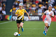 SYDNEY, AUSTRALIA - NOVEMBER 09: Ellie Carpenter of Australia controls the ball during the International friendly soccer match between Matildas and Chile on November 09, 2019 at Bankwest Stadium in Sydney, Australia. (Photo by Speed Media/Icon Sportswire)