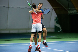Aljaz Jakob Kaplja (R) and Bor Muzar Schweiger celebrate after winning final match during Slovenian men's doubles tennis Championship 2019, on December 29, 2019 in Medvode, Slovenia. Photo by Vid Ponikvar/ Sportida