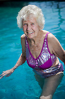 Agnus Marshall 98 in the family swimming pool of her home in Currumbin Queensland. (her number is 0755939901)