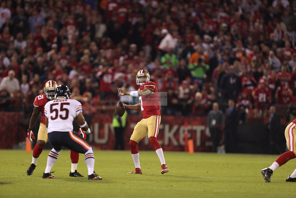 San Francisco 49ers quarterback Colin Kaepernick (7) in action against the Chicago Bears, during an NFL game on Monday Nov. 19, 2012 in San Francisco, CA.  (photo by Jed Jacobsohn)