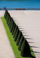 Palace of Versailles. Garden seen through old glass.