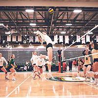 3rd year middle blocker, Brooklyn Reynolds (10) of the Regina Cougars during the Women's Volleyball pre-season game on Sat Sep 22 at Centre for Kinesiology, Health & Sport. Credit: Arthur Ward/Arthur Images