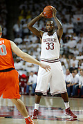 FAYETTEVILLE, AR - NOVEMBER 30:  Marshawn Powell #33 of the Arkansas Razorbacks looks to pass the ball during a game against the Syracuse Orangemen at Bud Walton Arena on November 30, 2012 in Fayetteville, Arkansas.  The Orangemen defeated the Razorbacks 91-82.  (Photo by Wesley Hitt/Getty Images) *** Local Caption *** Marshawn Powell