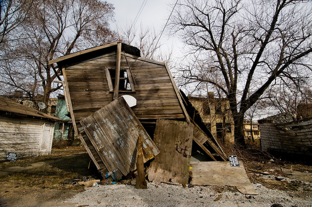 """Blocks of abandoned homes and small signs of life are all that remain in certain areas of Gary, IN. Gary is part of America's Midwestern """"Rust Belt"""", the heartland of the country and home to big unionized manufacturers like the auto and steel industries."""