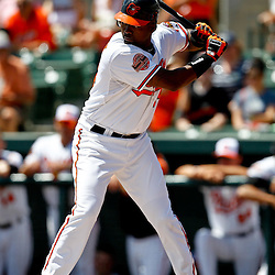 March 24, 2012; Sarasota, FL, USA; Baltimore Orioles third baseman Wilson Betemit (24) at bat during the bottom of the first inning of a spring training game against the Washington Nationals at Ed Smith Stadium.  Mandatory Credit: Derick E. Hingle-US PRESSWIRE
