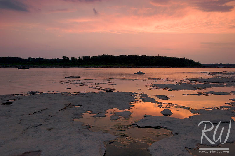 Sunset over fossil beds, The Falls of the Ohio State Park, Indiana