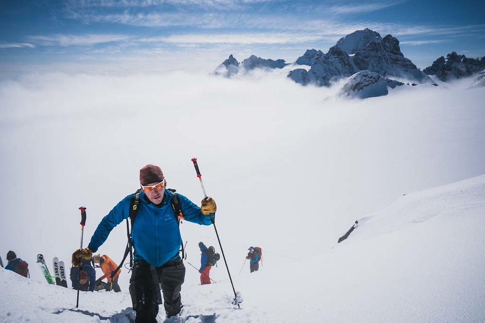 Sean Fraser on his way up to Solitaire Ski Peak, Howson Range, British Columbia.