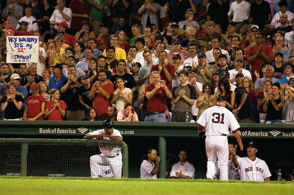 08 July 2008: Red Sox starting pitcher Jon Lester walks off the field in the seventh inning during Boston's win 6-5 over the Minnesota Twins at Fenway Park in Boston, MA.