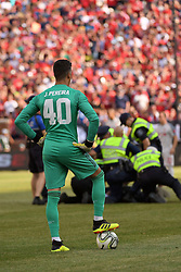 July 28, 2018 - Ann Arbor, MI, U.S. - ANN ARBOR, MI - JULY 28: Manchester United Keeper Joel Pereira (40) looks on after police tackle a fan that ran on to the pitch during the ICC soccer match between Manchester United FC and Liverpool FC on July 28, 2018 at Michigan Stadium in Ann Arbor, MI (Photo by Allan Dranberg/Icon Sportswire) (Credit Image: © Allan Dranberg/Icon SMI via ZUMA Press)