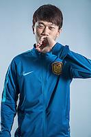 Portrait of Chinese soccer player Xie Pengfei of Jiangsu Suning F.C. for the 2017 Chinese Football Association Super League, in Nanjing city, east China's Jiangsu province, 27 February 2017.