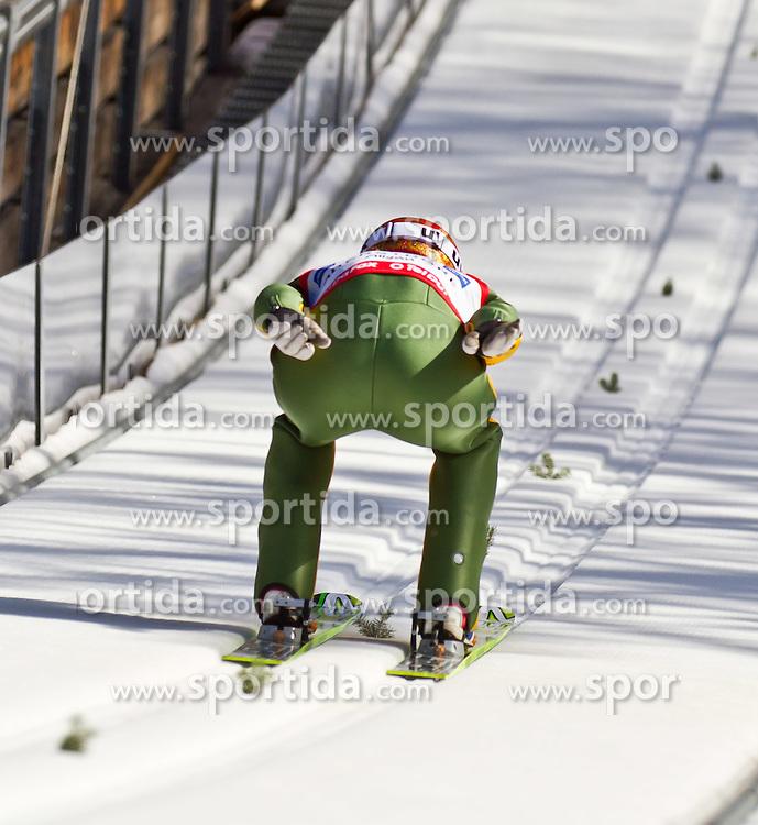 06.02.2011, Heini Klopfer Skiflugschanze, Oberstdorf, GER, FIS World Cup, Ski Jumping, Teamwettbewerb, Probedurchgang, im Bild Denis Kornilov (RUS) , during ski jump at the ski jumping world cup Trail round in Oberstdorf, Germany on 06/02/2011, EXPA Pictures © 2011, PhotoCredit: EXPA/ P. Rinderer